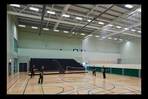 The enormous sports hall doubles as an events space